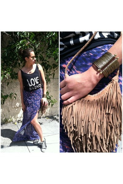 purple maxi skirt bec & bridge skirt - camel suede fringe vintage bag