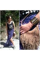 purple maxi skirt bec & bridge skirt - camel suede fringe vintage bag