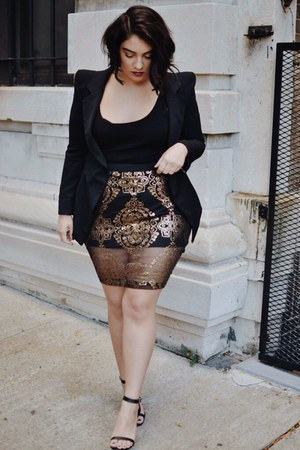 black sheer sequin Addition Elle skirt