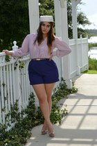 ivory hat - deep purple shorts - light purple blouse - tan Candies heels