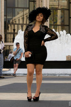 black vintage dress - black Jessica Simpson heels