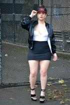 black jacket - white bra - black skirt