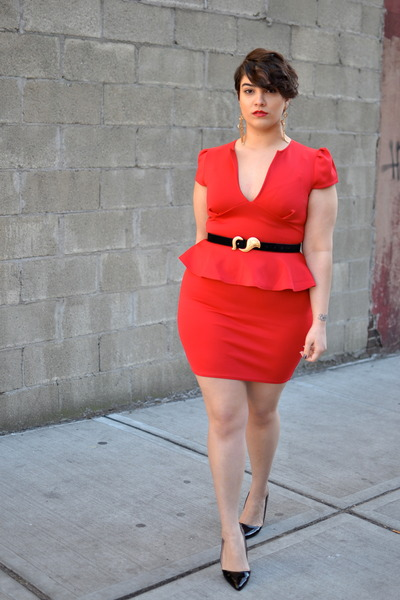 red dress - black asos heels