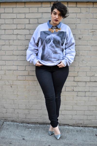 black asos jeans - silver shoemint heels