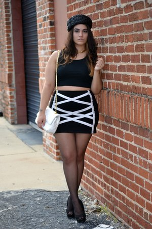black Wet Seal skirt - black hat - white bag - black top