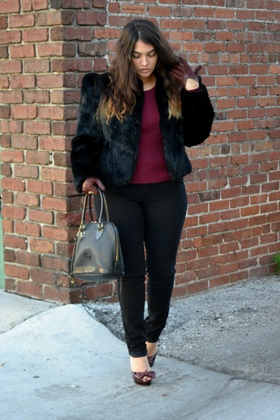 black coat - maroon blouse - black heels - maroon gloves
