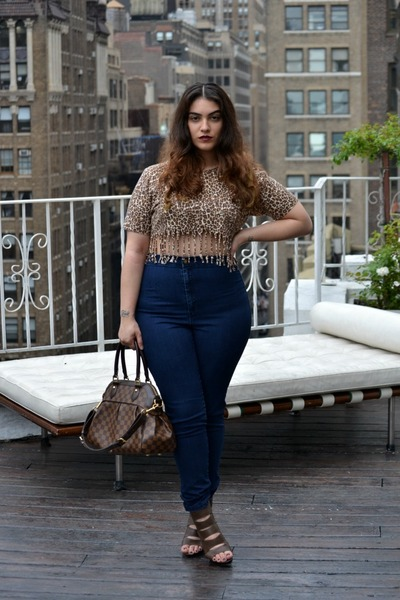 dark brown top - navy American Apparel jeans