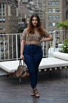 dark brown top - navy American Apparel jeans