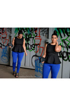 blue iheartposhshoppe pants - black Sheinside blouse
