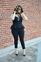 black heels - gold Chanel scarf - black asos jumper