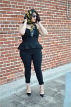 black heels - gold Chanel scarf - black asos jumper