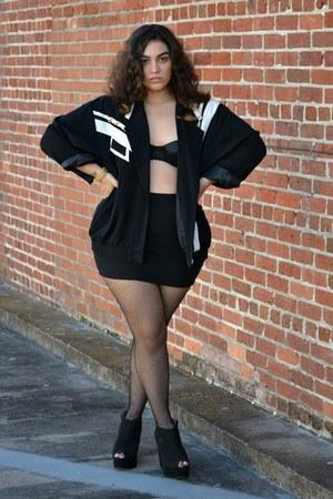 black jacket - black bra - black skirt