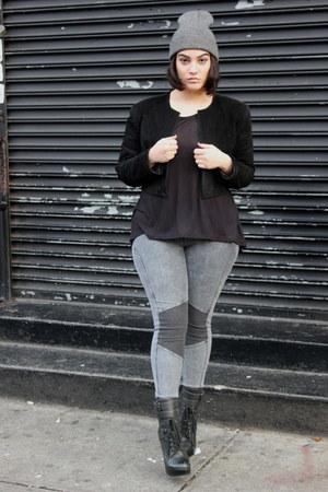 black Jeffrey Campbell boots - black vintage jacket - heather gray leggings