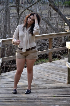 tan shorts - beige blouse - dark brown loafers