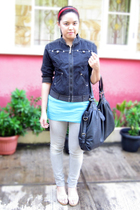 Forever 21 tights - arnessio jacket - Logo jeans - Marie Claire shoes