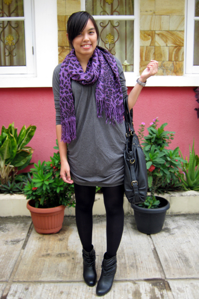 Magnolia by Orange dress - Pashmina scarf - Zara boots