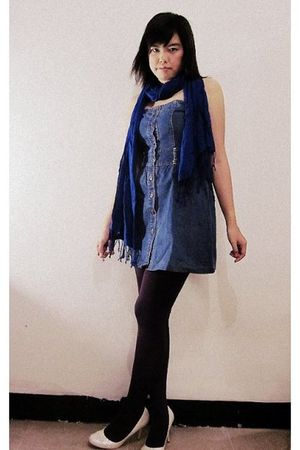 blue thrifted dress - blue Accessorize scarf - white Charles & Keith shoes