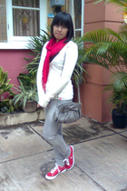 white Esprit sweater - gray Logo jeans - red rubi scarf - red Converse shoes - g