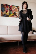 black Armani Exchange dress - black H&M blazer - black Zara flats