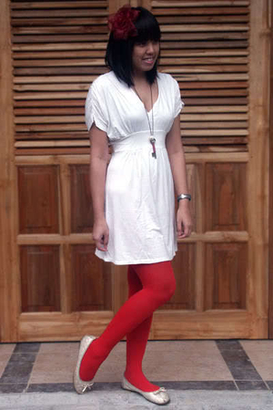 white Magnolia by Orange dress - red NyLa tights - white Marie Claire shoes