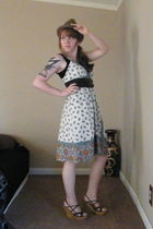 brown thrifted hat - brown Charlotte Russe belt - yellow Target dress - brown Ch