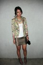 Blazer-green-department-store-skirt-black-guess-purse
