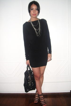 black Mango dress - black boutique shoes - black Bag - silver random accessories