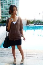 brown Wisdom top - beige Charles and Keith shoes - black Nine West accessories -