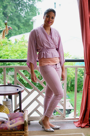 light purple H&M shirt - pink Gap jeans - silver unisa flats