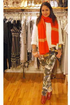 tory burch jeans - Jeffrey Campbell boots - JCrew shirt - vintage scarf