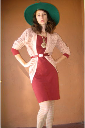 red burnt red H&amp;M bandage dress - orange peach knit cardigan - red snakeskin bel