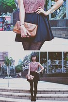 black Topshop stockings - pink Eatingzombie dress - tawny River Island bag