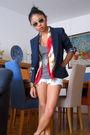Red-scarf-gray-h-m-t-shirt-white-diy-shorts-blue-zara-blazer-white-ray-b