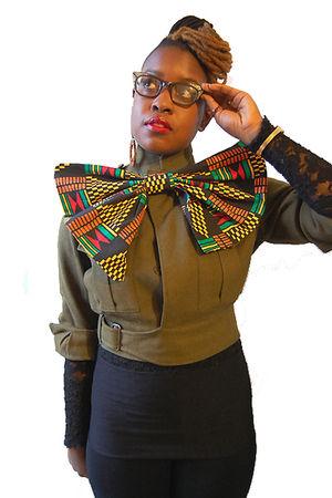 black bow naKiMuli accessories - green cropped jacket - black leggings