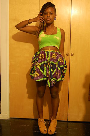 green naKiMuli top - purple naKiMuli skirt