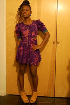 purple naKiMuli dress - beige Jeffrey Campbell shoes