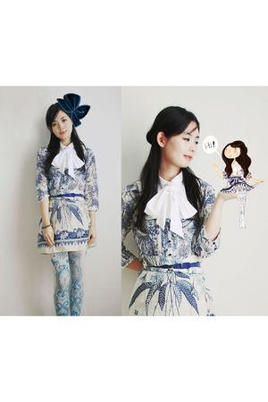 blue Zara dress - blue Zara blouse