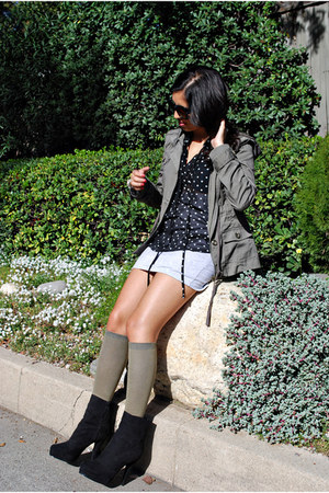 ankle boots Forever 21 boots - surplus thrifted jacket - knee-high H&M socks - b