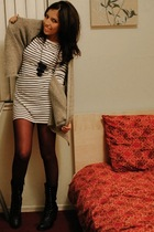 gray DIY dress - purple f21 tights - gray f21 sweater - black f21 boots
