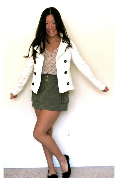 army green H&M skirt - ivory H&M jacket - floral print vintage shirt