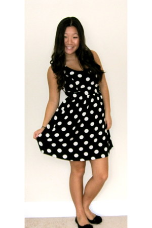 black polka dots Forever 21 dress - black flower Wanted flats