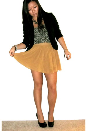 burnt orange chiffon Forever 21 skirt - black Forever 21 blazer - Forever 21 top