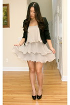 beige ruffled H&M dress - black cropped Forever 21 blazer