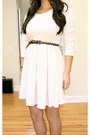 Off-white-h-m-dress-dark-brown-braided-leather-forever-21-belt