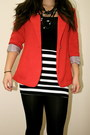 Black-forever21-tights-red-vintage-blazer-black-forever21-top