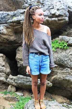 vintage jumper - Mr Price boots - denim shorts thrifted shorts
