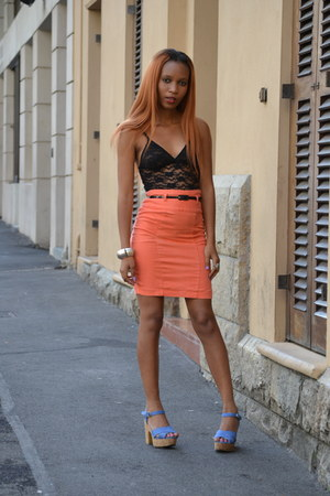 lacy vest Woolworths vest - Mr Price skirt - block heels Mr Price heels