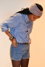 Blue-thrifted-vintage-blazer-heather-gray-turban-woolies-hat