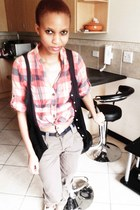 black button down thrifted vest - white brogues Mr Price shoes