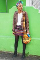 skirt - black combat boots boots - brown jacket - white sheer blouse RT shirt
